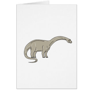 Brontosaurus Dinosaur Looking Down Mono Line Card
