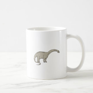 Brontosaurus Dinosaur Looking Down Mono Line Coffee Mug