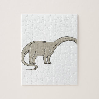 Brontosaurus Dinosaur Looking Down Mono Line Jigsaw Puzzle