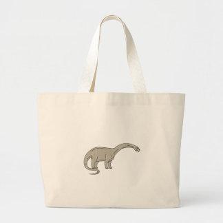 Brontosaurus Dinosaur Looking Down Mono Line Large Tote Bag
