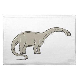 Brontosaurus Dinosaur Looking Down Mono Line Placemat