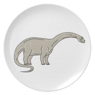 Brontosaurus Dinosaur Looking Down Mono Line Plate