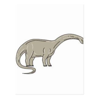 Brontosaurus Dinosaur Looking Down Mono Line Postcard