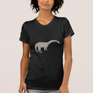 Brontosaurus Dinosaur Looking Down Mono Line T-Shirt