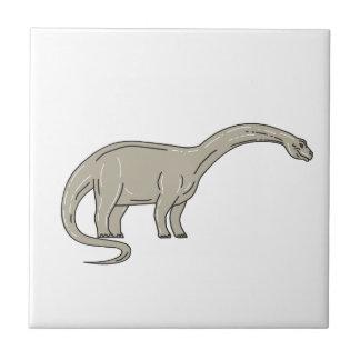 Brontosaurus Dinosaur Looking Down Mono Line Tile