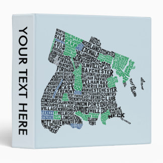 Bronx New York City Typography Map Binder
