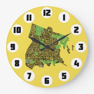 Bronx New York City Typography Map Clock