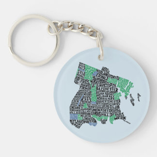Bronx New York City Typography Map Keyring