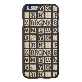Bronx New York | Grunge Typography Carved Maple iPhone 6 Case