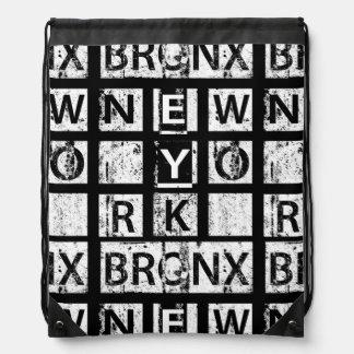 Bronx New York | Grunge Typography Drawstring Bag