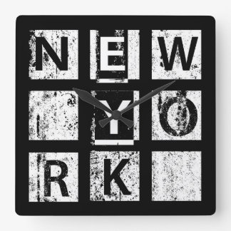 Bronx New York | Grunge Typography Square Wall Clock