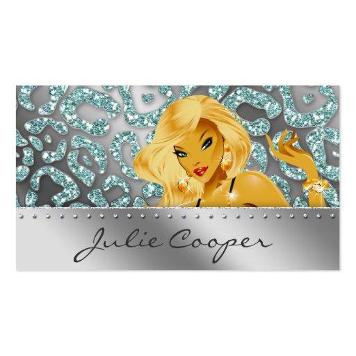 Bronzage blond turquoise de léopard de carte de vi modèles de cartes de visite