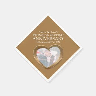 Bronze 8th anniversary heart photo names napkins