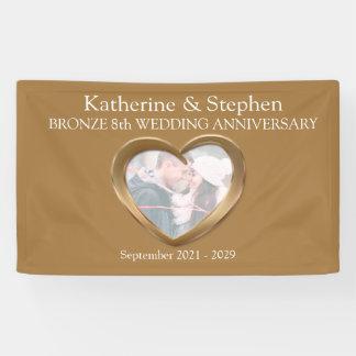 Bronze 8th Wedding anniversary heart photo banner