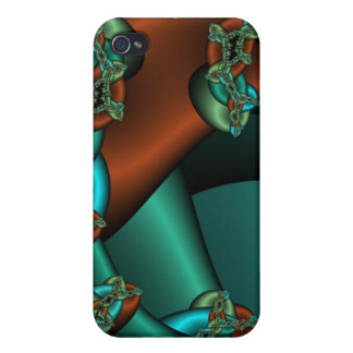 bronze and green fractal i iPhone 4 cover