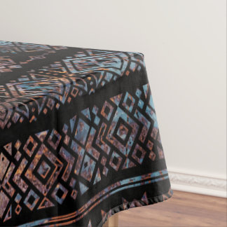 Bronze and Rust Vintage  Aztec Peruvian Tribal Pat Tablecloth