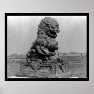 Bronze Animal Figure in Peking, China 1898 Poster