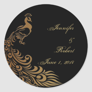 Bronze Art Deco Peacock and Floral Envelope Seal Round Sticker