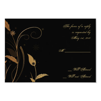 Bronze Art Deco Peacock and Floral Response Card