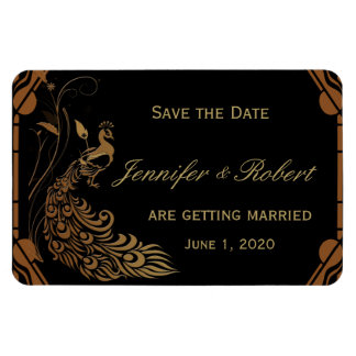 Bronze Art Deco Peacock and  Floral Save the Date Rectangular Photo Magnet