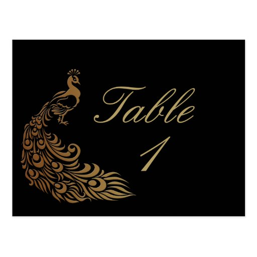 Bronze Art Deco Peacock and Floral Table Number Postcards