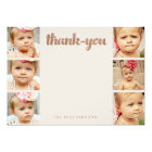 Bronze Baby Thank You 6 Photo Frame Flat Cards