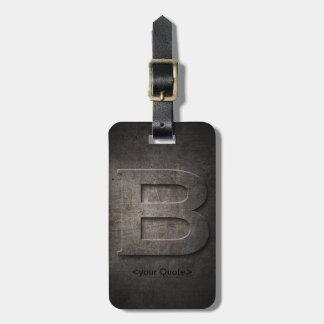 Bronze Black Metal B Monogram Luggage Tag