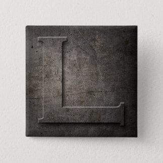 Bronze Black Metal L Monogram square Button