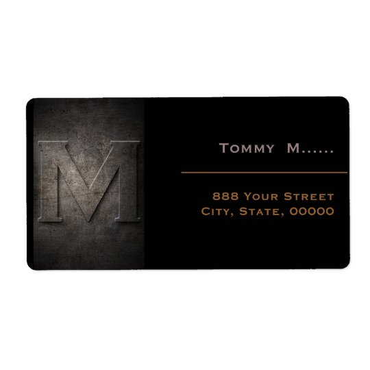 Bronze Black Metal Monogram M Address Label