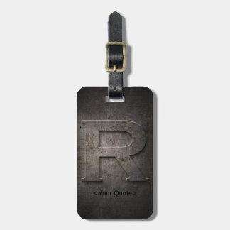 Bronze Black Metal R Monogram Travel Luggage Tag