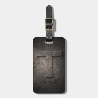 Bronze Black Metal T Monogram Travel Luggage Tag