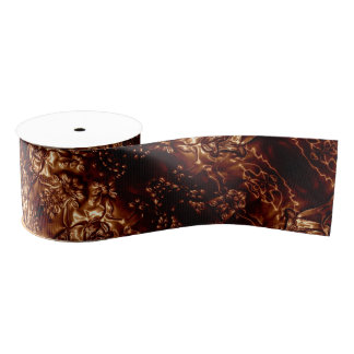 Bronze Brown Floral Embossing Art Metallic Grosgrain Ribbon
