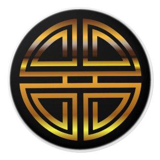 Bronze Classic Chinese Longevity Round Motif Ceramic Knob