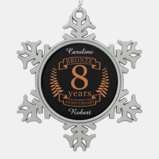 Bronze eighth wedding anniversary 8 years snowflake pewter christmas ornament