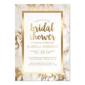 Bronze Foil & Marble Bridal Shower Magnetic Card