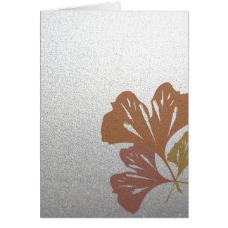 Bronze Ginkgo Leaves on Silver Effect Pattern Card