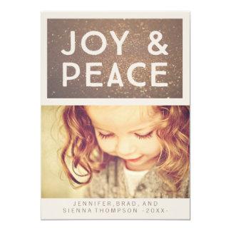 Bronze Glitter Joy & Peace Christmas Photo Flat Card