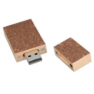 Bronze Glitter Sparkles Wood USB Flash Drive