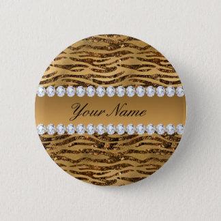 Bronze Gold Faux Foil Zebra Stripes 2 Inch Round Button