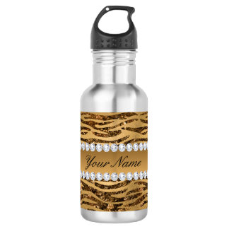 Bronze Gold Faux Foil Zebra Stripes 532 Ml Water Bottle