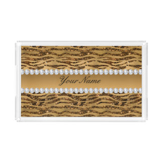 Bronze Gold Faux Foil Zebra Stripes Acrylic Tray