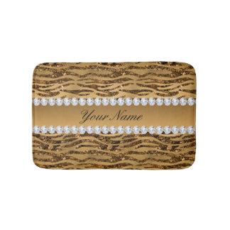Bronze Gold Faux Foil Zebra Stripes Bathroom Mat