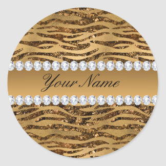 Bronze Gold Faux Foil Zebra Stripes Classic Round Sticker