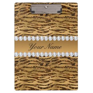 Bronze Gold Faux Foil Zebra Stripes Clipboard
