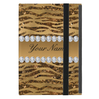 Bronze Gold Faux Foil Zebra Stripes Cover For iPad Mini