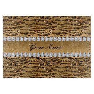 Bronze Gold Faux Foil Zebra Stripes Cutting Board