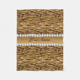 Bronze Gold Faux Foil Zebra Stripes Fleece Blanket