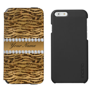 Bronze Gold Faux Foil Zebra Stripes Incipio Watson™ iPhone 6 Wallet Case