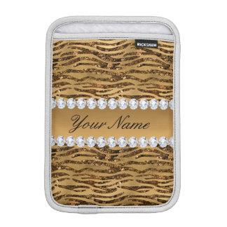 Bronze Gold Faux Foil Zebra Stripes iPad Mini Sleeves