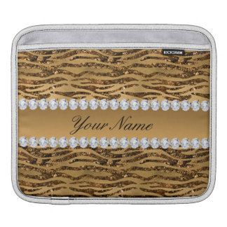Bronze Gold Faux Foil Zebra Stripes iPad Sleeve